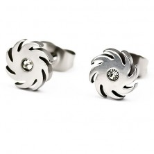Stainless steel earrings - saw wheel, zircon 1 mm