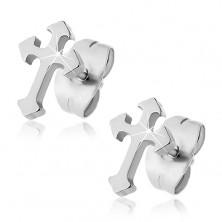 Surgical steel earrings - Fleur De Lis cross