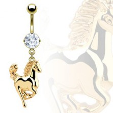 Navel ring - horse in gold colour