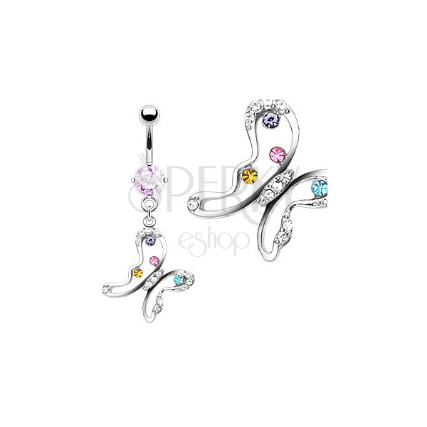 Butterfly belly piercing with multi-coloured zircons