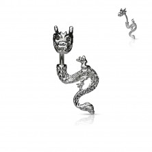 Belly button ring - firing dragon with zirconic eyes