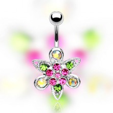 Belly ring - pink flower on leaves