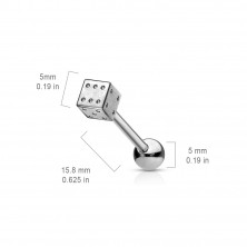 Tongue barbell - steel dice