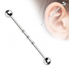 Steel ear labret with jags, ball beads