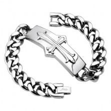 Steel chain bracelet - tag, Medieval cross