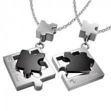 Jigsaw puzzle pendants for lovers - silver and black colour