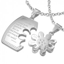 Stainless steel couple pendant - tag and flower with zircons