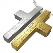 Steel couple pendant - cross, prayer