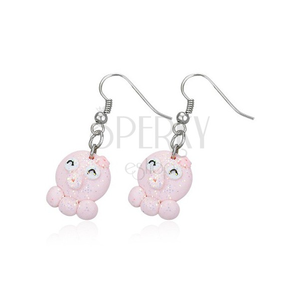 Dangle Fimo earrings - pink piglet, three feet