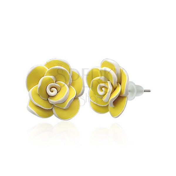 Fimo stud earrings - big yellow rose