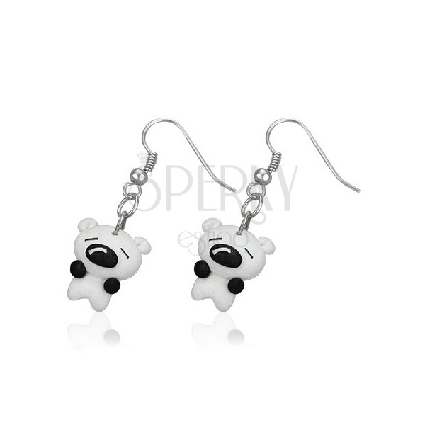 Earrings Fimo - small white puppy