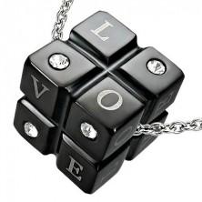 Black stainless steel pendant - LOVE cube