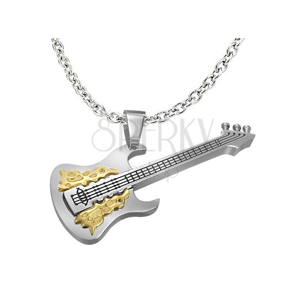Silver-gold stainless steel pendant - guitar
