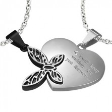 Stainless steel pendant for lovers - heart, butterfly