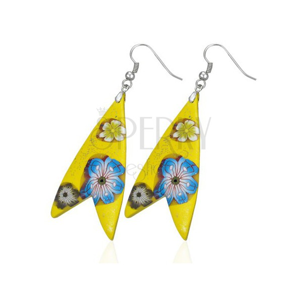 Earrings Fimo - yellow triangle, fish shape, flowers