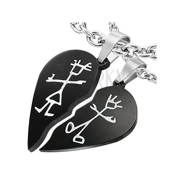 Set of pendants for lovers - broken heart effect