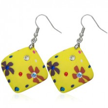 Earrings made of Fimo material - yellow squares, flowers, zircons