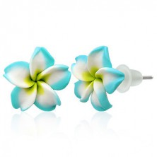 Small Fimo earrings - turquoise and white flower