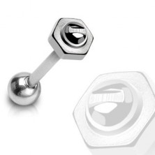 Tongue piercing - barbell, screw with nut, 316L steel