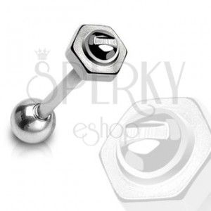 Tongue ring - screw with a nut