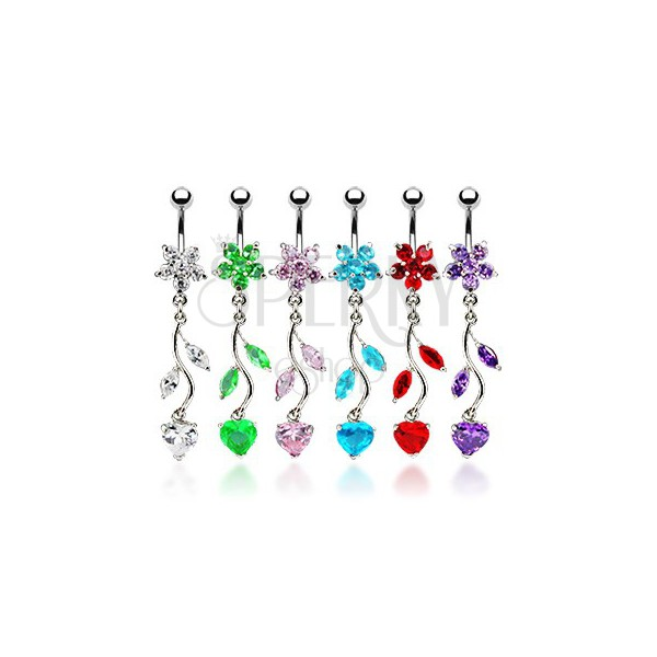 Belly button ring - flower and heart