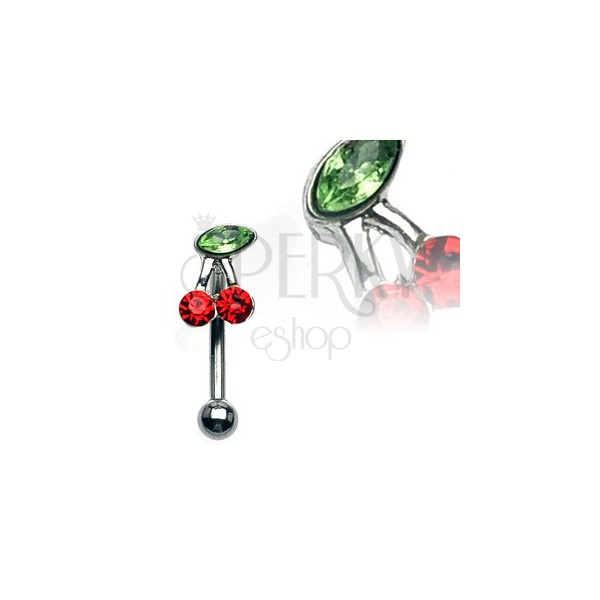 Eyebrow ring - a cherry with green and red zircons
