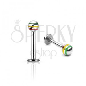 Three color ball labret - stainless steel