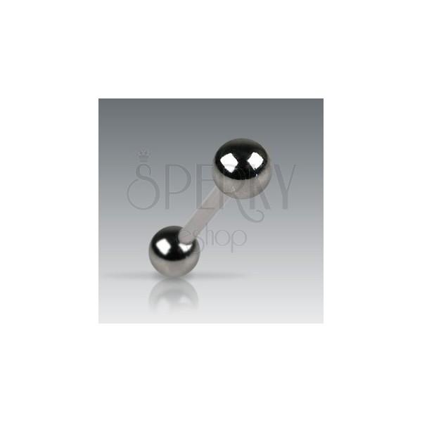 Tongue barbell with darker matt balls