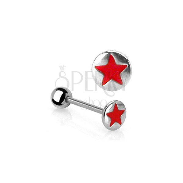 Red star tongue piercing