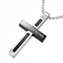 Pendant made of stainless steel, bicoloured cross with love inscription