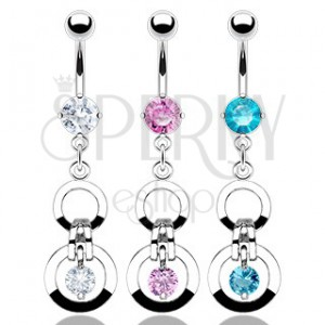 Belly ring with two loops and two zircons