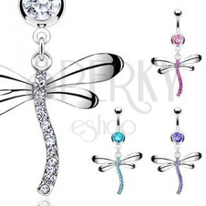 Belly ring in shape of dragonfly with zircons