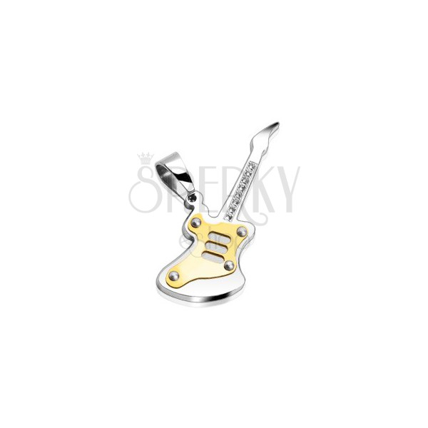 316L steel pendant - two-colour guitar with clear round zircons