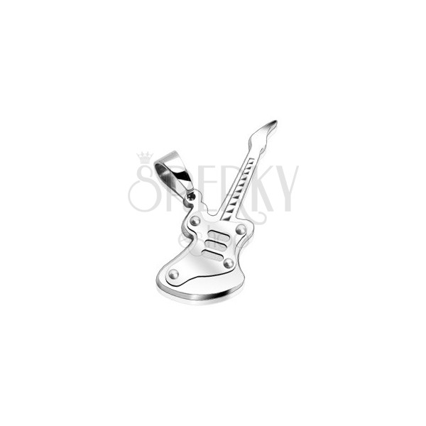 Pendant made of 316L steel - guitar in silver colour, high gloss