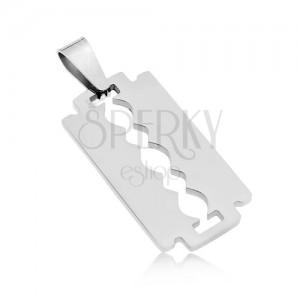 Surgical steel pendant - shiny razor blade in silver colour
