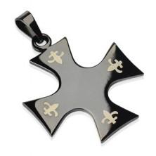 Stainless steel pendant - cross of black colour, Fleur de Lis