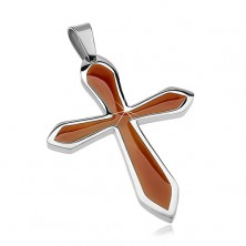 Surgical steel pendant in shape of cross with brown glaze