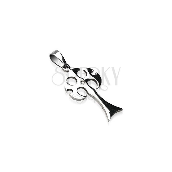 Pendant made of steel in silver colour, medieval axe