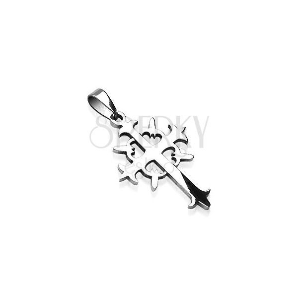 Surgical steel tribal cross pendant