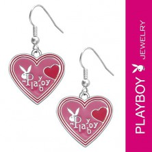 PLAYBOY earrings - pink enamel hearts