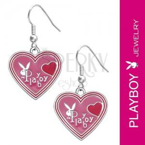 PLAYBOY earrings - pink enamel hearts