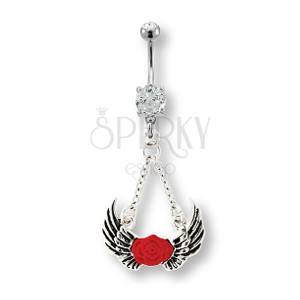 Belly ring with angel wings and red rose