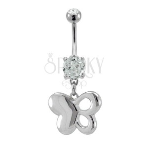 Butterfly belly button ring with heart