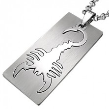 Pendant made of surgical steel, rectangle, motif - scorpion