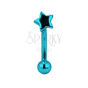 Anodized titanium eyebrow piercing - blue star