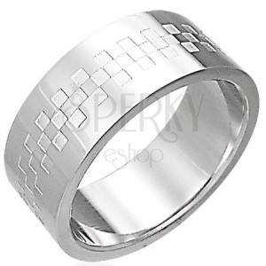 Shiny stainless steel ring with chessboard pattern