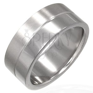 Stainless steel ring with engraved line in the middle