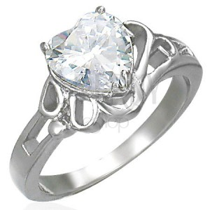 Lady's shiny steel ring, big clear zircon heart