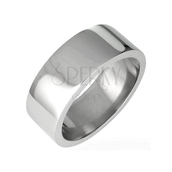 Shiny steel ring, flat - 8 mm