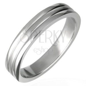 Stainless steel ring with two channels 6 mm